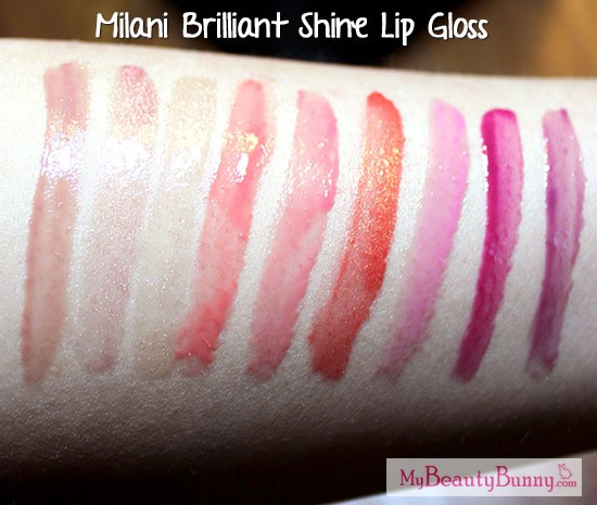 Milani Brilliant Shine Lipgloss Swatches