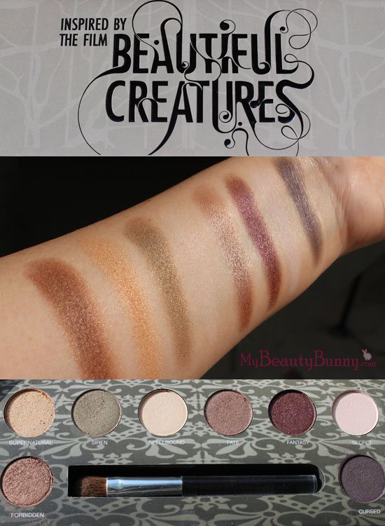 Pur Minerals Beautiful Creatures palette swatches