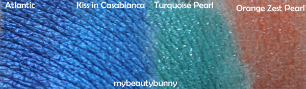 Nyx Atlantic, Kiss in Casablanca, Turquoise Pearl, Orange Zest Pearl